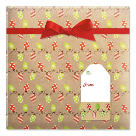 Kraft Holiday Lights Jumbo Rolled Gift Wrap and Labels