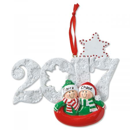 Sledding Couple Personalized Christmas Ornaments