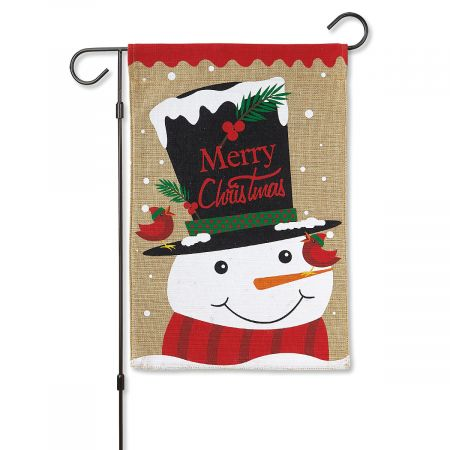 Top Hat Snowman Garden Flag and Stand