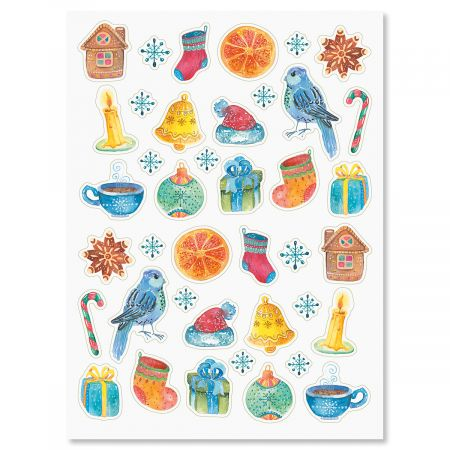 Watercolor Christmas Stickers