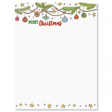 Ornament Christmas Letter Papers This beautifully designed letter sheets are a full 8-1/2  x 11 , the same size as copier and printer paper. You can easily print them on your home computer! Fold and insert into your Christmas cards, or mail simply as Christmas letters in your own envelopes (not included). 25 sheets per pack