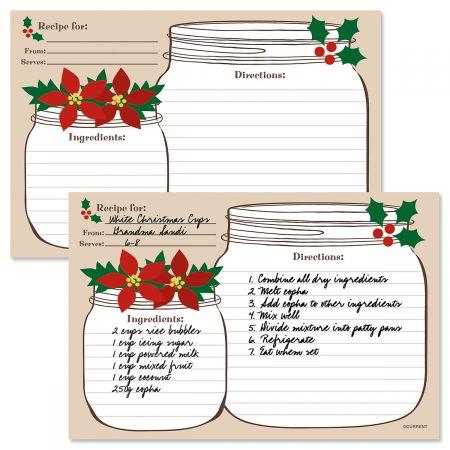 Christmas Mason Jar Recipe Cards
