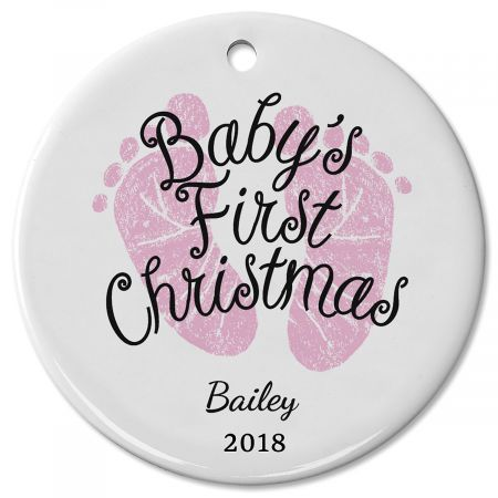 Baby Girl's First Personalized Christmas Ceramic Ornament