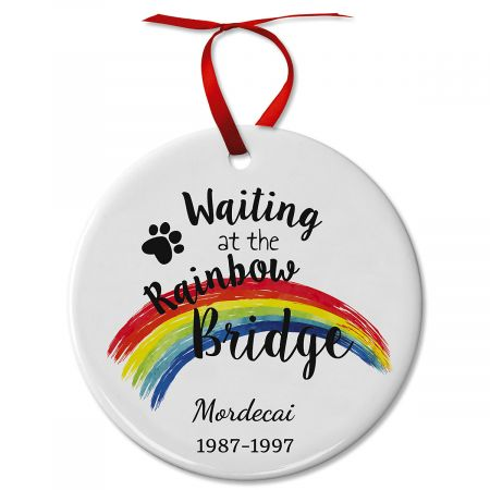Pawprints Pet Remembrance Ceramic Personalized Christmas Ornament