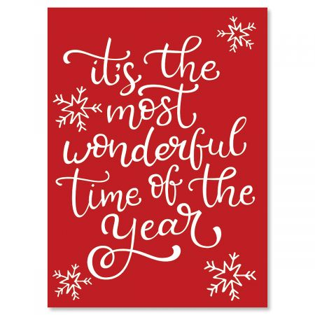 Most Wonderful Personalized Christmas Cards - Set of 18