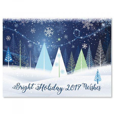 Holiday Trees Personalized Christmas Cards - Set of 18