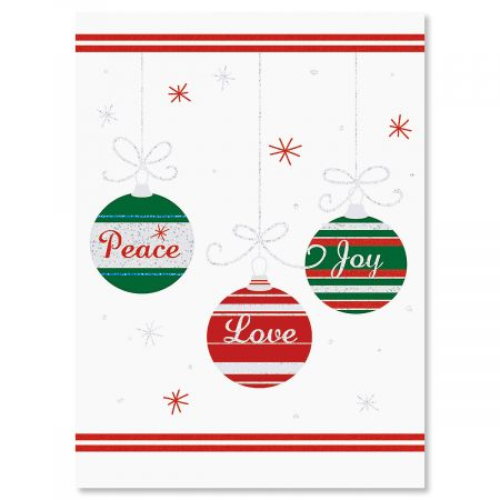 Ornament Trio Personalized Christmas Cards - Set of 18