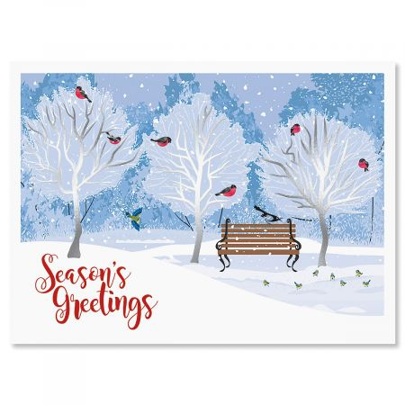 Winter Trees Personalized Deluxe Christmas Cards - Set of 14