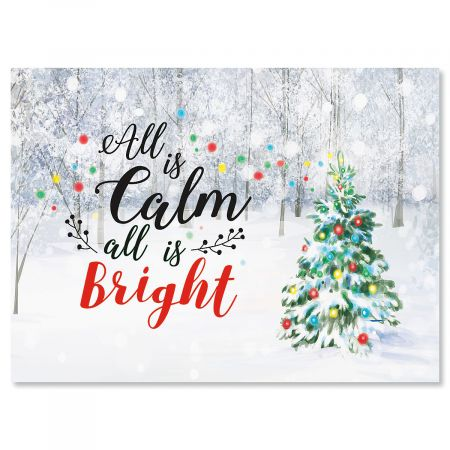 Snowy Forest Personalized Christmas Cards - Set of 72