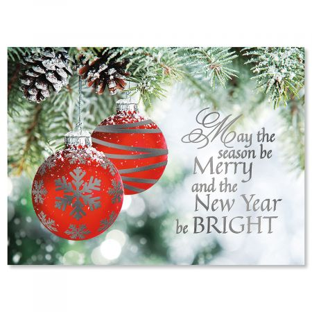 Ornament Wish Nonpersonalized Deluxe Christmas Cards - Set of 54