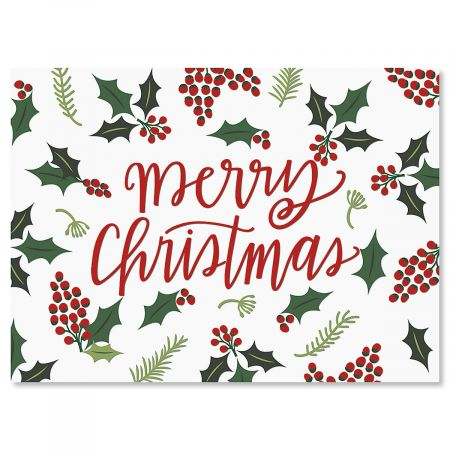 Christmas Card Border.Berry Border Christmas Cards