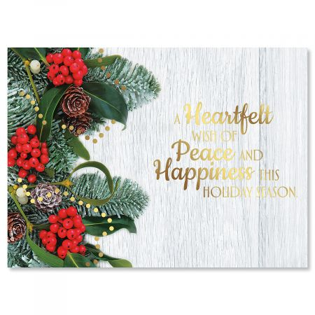 Holly and Ribbon Nonpersonalized Deluxe Christmas Cards - Set of 54
