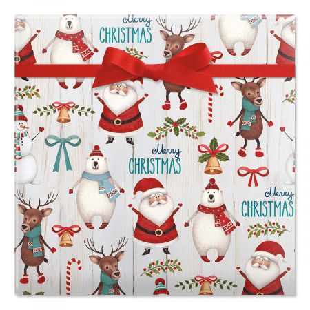 Santa & Friends Jumbo Rolled Gift Wrap