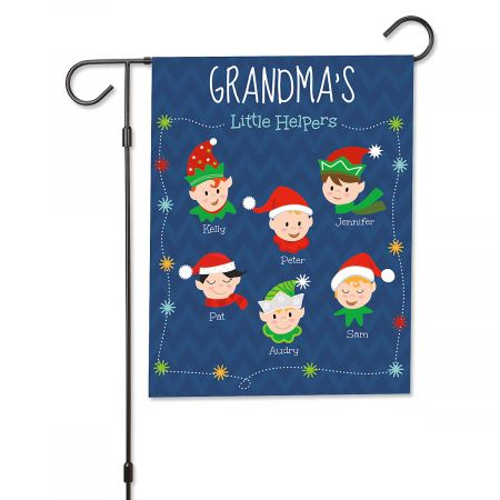 Personalized Christmas Holiday Elves Garden Flag