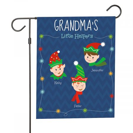 Personalized Holiday Elves Garden Flag - 3 Elves