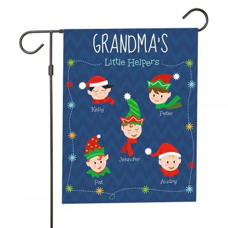 Personalized Holiday Elves Garden Flag - 5 Elves Personalized Holiday Elves Garden Flag - 5 Elves