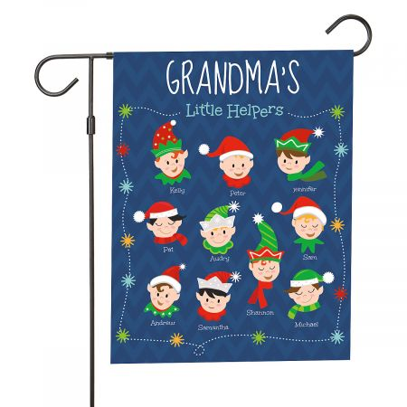 Personalized Holiday Elves Garden Flag - 10 Elves