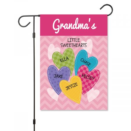 Personalized Valentine Garden Flag - 5 Hearts