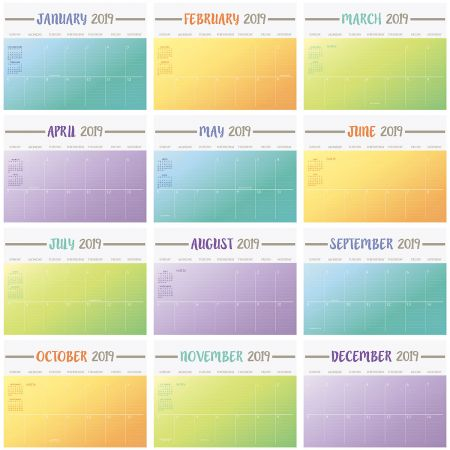 2019 Color Block Big Grid Planning Calendar