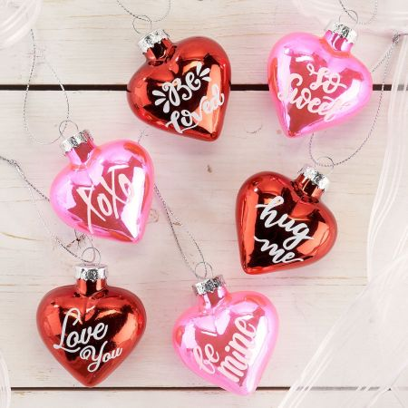 Valentines Glass Heart Ornaments