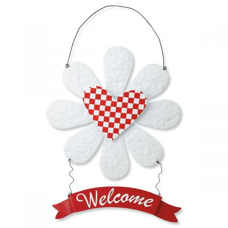 Daisy Heart Metal Wall Hanging