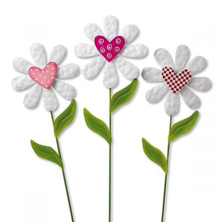 daisy heart metal garden stakes - Metal Garden Stakes