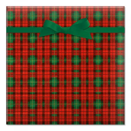 Old World Plaid Foil Rolled Gift Wrap