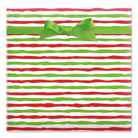 Red & Lime Stripes Jumbo Rolled Gift Wrap