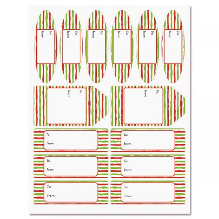Red & Lime Stripes Labels