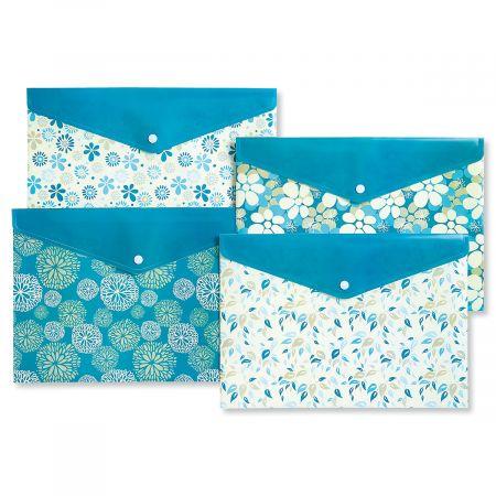 Aqua Floral Snap Folders