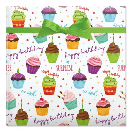 Birthday Cupcakes Jumbo Rolled Gift Wrap