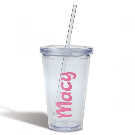 Personalized Acrylic Beverage Cup - Pink