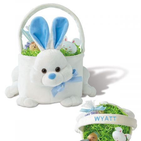 Kids Personalized Plush Blue Easter Bunny Basket