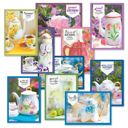 Teapot Birthday Greeting Cards Value Pack