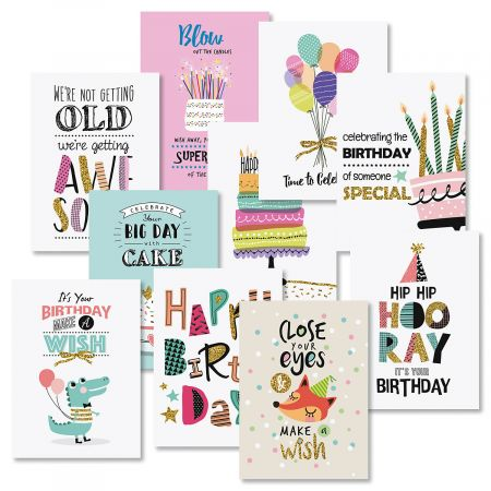 Simple Wishes Birthday Greeting Cards Value Pack
