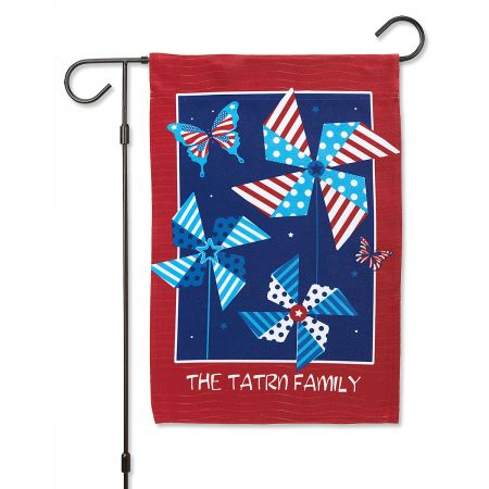 Patriotic Spinners Personalized Garden Flag