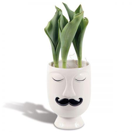 Mustache Ceramic Face Vase