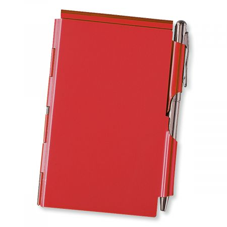 Red Metal Note Holder with Pen