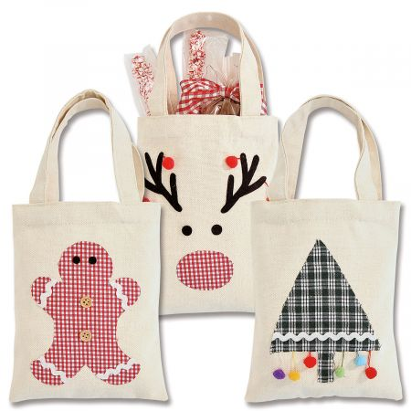 Canvas Treat Sacks with Plaid Appliqués
