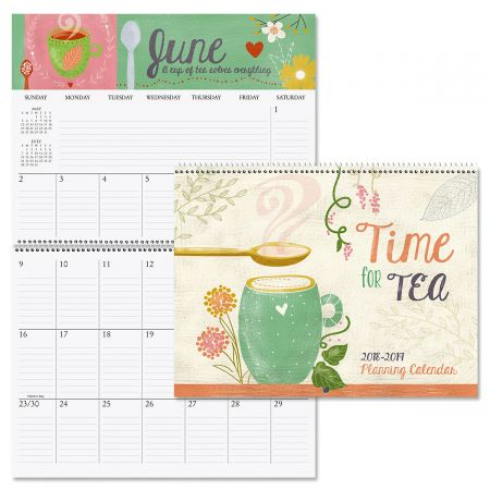 2019 Tea Time Big Grid 16-Month Planning Calendar