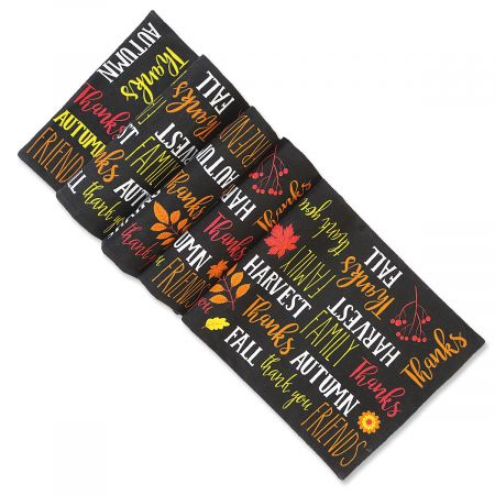 Autumn Words Woven Table Runner