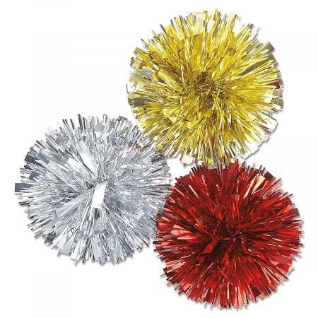 Metallic Pom Pom Bows