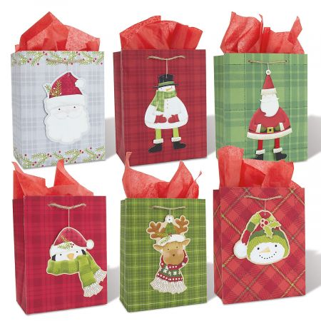 Plaid Gift Bags and Diecut Hang Tags