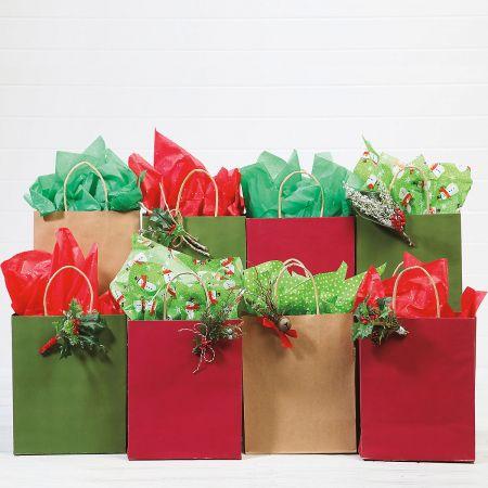 Red, Green & Natural Kraft Gift Bags