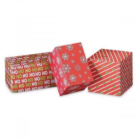 Cube/Rectangle Printed Christmas Gift Box Value Pack