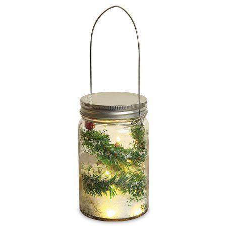 Pine & Berries in Light-Up Jar