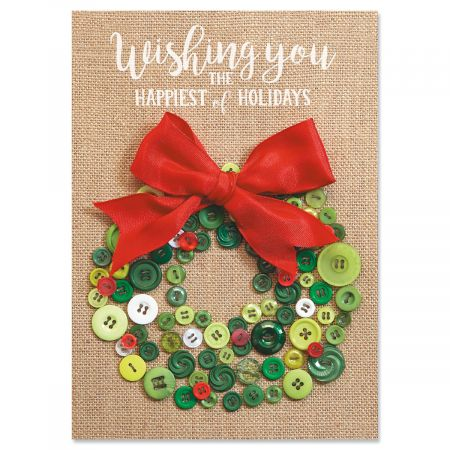 Button Wreath Christmas Cards - Personalized