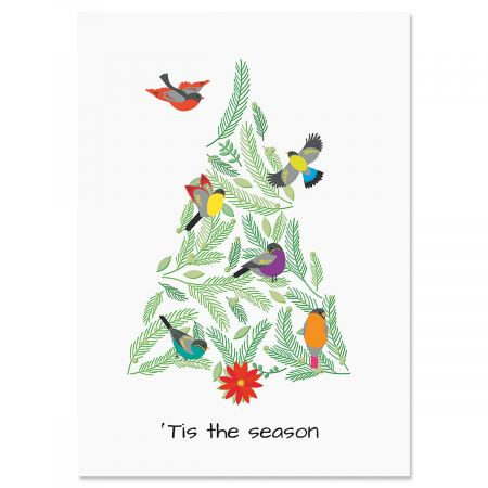 Birds In Tree Christmas Cards - Personalized