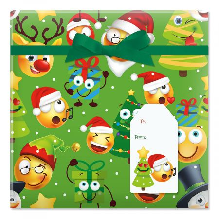 Christmas Emoji Jumbo Rolled Gift Wrap and Labels