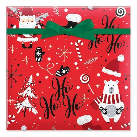 Ho Ho Ho Santa Jumbo Rolled Gift Wrap